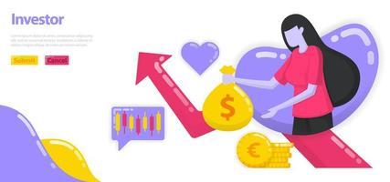 Ilustración de inversores que invierten dinero y activos para aumentar la riqueza. las mujeres sostienen bolsas de dinero o dólares, tablas de crecimiento. concepto de vector plano para página de destino, sitio web, móvil, aplicaciones ui, ux, banner, anuncios
