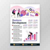 Business development poster concept. increase profits in company with vector flat cartoon illustration. flyer business pamphlet brochure magazine cover design layout space for A4 size print template