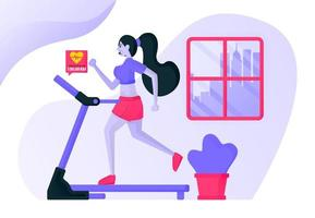 Girls exercise running on a treadmill inside the house wearing sexy sports clothes to burn calories and nourish heartbeat with city views. Flat vector illustration concept for Landing page, website