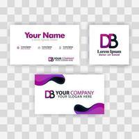 concepto de plantilla de tarjeta de visita limpia. vector creativo moderno púrpura. ser carta logo degradado mínimo corporativo. Fondo de logotipo de lujo de la empresa eb. logo e para impresión, marketing, identidad, identificación