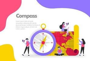 Compass and Maps Illustration Concept, trip and destination. Modern flat design concept for Landing page website, mobile apps ui ux, banner poster, flyer brochure, web print document. Vector EPS 10