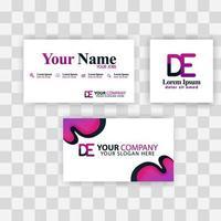 concepto de plantilla de tarjeta de visita limpia. vector creativo moderno púrpura. ed carta logo gradiente mínimo corporativo. Fondo de logotipo de lujo de la empresa. logo d para impresión, marketing, identidad, identificación