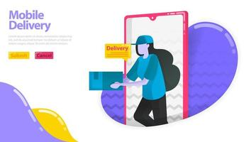 Illustration of mobile delivery. Women who deliver goods. Courier coming out of the mobile smartfone. delivery order application. flat vector concept for Landing page, website, mobile, apps ui, flyer