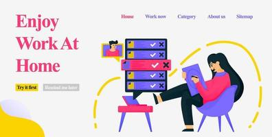 Design a girl sitting in a home chair casually and working as a freelancer by designing, getting orders and meeting clients on the internet. Flat vector illustration concept for Landing page, website
