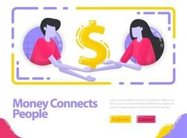 Illustration money connects people. People shake hands and get out money. Cooperation in business and finance. Dollar and investment. Flat vector concept for Landing page, website, mobile, apps ui, ux