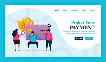 Landing page vector design of Protect Your Payment. Easy to edit and customize. Modern flat design concept of web page, website, homepage, mobile apps, UI. character cartoon Illustration flat style.