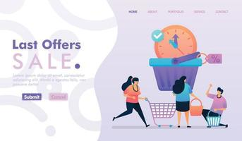 Landing page vector design of Last Offers Sale. Easy to edit and customize. Modern flat design concept of web page, website, homepage, mobile apps, UI. character cartoon Illustration flat style.