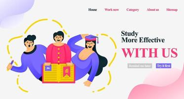 cartoon characters for marketing learning websites. Study is more effective with us. students who leave the textbook for the mobile app and story. Flat vector illustration concept for poster, website