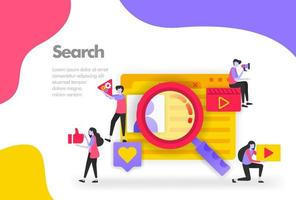Search Illustration Concept, looking fo user personal data. Modern flat design concept for Landing page website, mobile apps ui ux, banner poster, flyer brochure, web print document. Vector EPS 10
