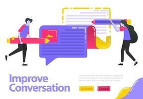 La ilustración mejora la conversación. las personas que escriben opiniones pueden participar en el chat. mejorar y actualizar opiniones e información. concepto de vector plano para página de destino, sitio web, móvil, aplicaciones ui, banner