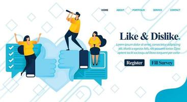 Website online poll or survey to make your choice to like or dislike. recommend, criticism and review social issues for better change. Vector Illustration For Web, Landing Page, Banner, Mobile Apps