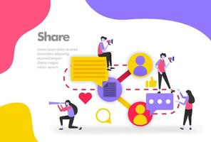 Share Illustration Concept, Sharing work files and documents. Modern flat design concept for Landing page website, mobile apps ui ux, banner poster, flyer brochure, web print document. Vector EPS 10