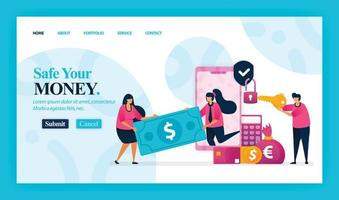 Landing page vector design of Safe Your Money. Easy to edit and customize. Modern flat design concept of web page, website, homepage, mobile apps, UI. character cartoon Illustration flat style.