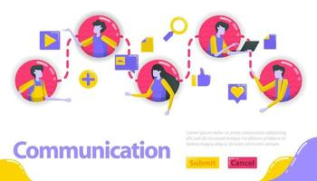 Illustration of communication. people are connected to each other in communication and community line. social media connects people. Flat vector concept for Landing page, website, mobile, apps, banner