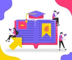 Book illustrations for education. Students who study between books or dictionaries. Bookmark on important pages in the book. Graduation hat. flat vector concept for Landing page, website, mobile, apps