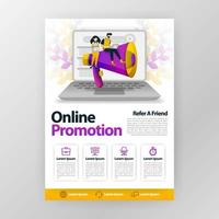 Online promotion and refer a friend business poster with flat cartoon illustration. flyer pamphlet brochure magazine cover design layout space for promotion marketing, vector print template A4 size