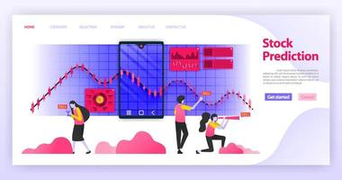 Predict stock prices and read related news to determine investment choices and financial decisions on the currency market with mobile apps. Flat vector illustration concept for Landing page, website