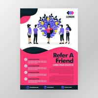 Multi level marketing business or affiliate product and looking for downlines. Refer a friend vector illustration concept for web, website, landing page, mobile apps, brochure, poster, magazine cover.