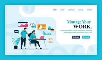 Landing page vector design of Manage Your Work. Easy to edit and customize. Modern flat design concept of web page, website, homepage, mobile apps, UI. character cartoon Illustration flat style.