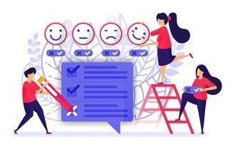 las personas revisan y completan cuestionarios, encuestas o exámenes de servicio o producto. proporcionar comentarios con emoticonos de la experiencia del cliente. ilustración vectorial para web, página de destino, banner, móvil vector
