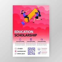 business seminar posters about learning and education scholarships with flat cartoon illustration. flyer business pamphlet brochure magazine cover design layout space for vector print template in A4