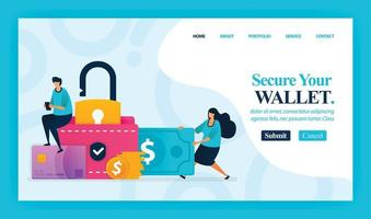 Landing page vector design of Secure Your Wallet. Easy to edit and customize. Modern flat design concept of web page, website, homepage, mobile apps, UI. character cartoon Illustration flat style.
