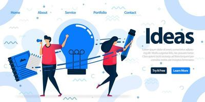 Simple landing page template design for education and business. Brainstorming to find solutions, idea and inspiration by writing and reading. Vector Illustration For Web, Landing Page, Banner, Mobile