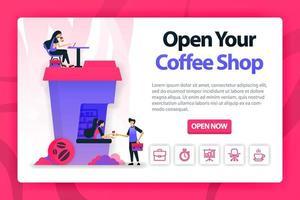 vector ilustración plana sobre la apertura de una cafetería con un solo clic. Pide café a un barista y trabaja en el edificio que tiene forma de taza de café. se puede utilizar para la página de destino, sitio web, web, página de inicio, móvil