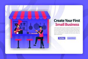 vector flat illustration of opening a food stall or small medium business. customer and chef started to become entrepreneur or startup founder. can use for landing page, website, web, homepage, mobile