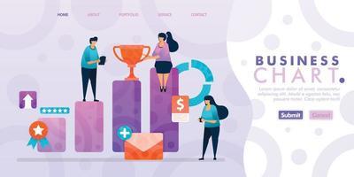 Diseño de página de destino de gráfico de barras de negocios con personaje de dibujos animados de ilustración plana. visualización de datos comerciales de diagrama de diseño, banner, diseño web, página web, sitio web, página de inicio, aplicaciones móviles, ui. vector