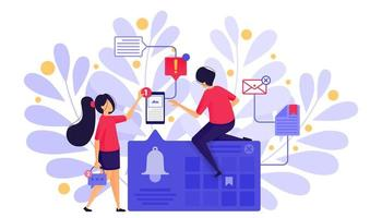 People Set Bell Notifications or Ringing Bell Alarms to Send Messages And Set Schedules With Bookmark in Calendar. Character Concept Vector Illustration For Web Landing Page, Banner, Mobile Apps, Card