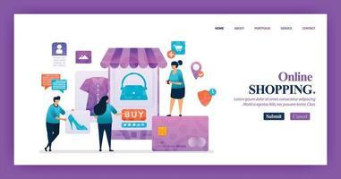 Diseño de página de destino de compras móviles con personaje de dibujos animados de ilustración plana. visualización de datos comerciales de diagrama de diseño, banner, diseño web, página web, sitio web, página de inicio, aplicaciones móviles, ui. vector