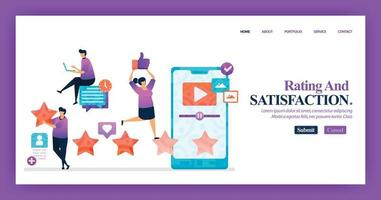 Landing page design of Satisfaction Rating with flat Illustration cartoon character. Business data visualization of layout diagram, banner, web design,  web page, website, homepage, mobile apps, UI. vector