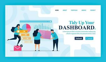 Landing page vector design of Tidy Up Your Dashboard. Easy to edit and customize. Modern flat design concept of web page, website, homepage, mobile apps, UI. character cartoon Illustration flat style.