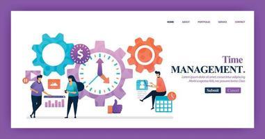 diseño de vector de página de destino de gestión del tiempo. fácil de editar y personalizar. concepto de diseño plano moderno de página web, sitio web, página de inicio, aplicaciones móviles. personaje de dibujos animados ilustración estilo plano.