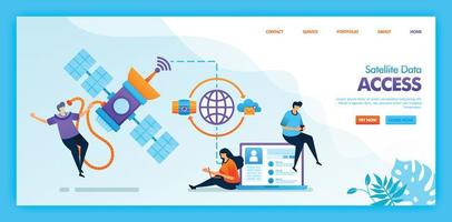 Landing page vector design of Satellite data access. Easy to edit and customize. Modern flat design concept of web page, website, homepage, mobile apps UI. character cartoon Illustration flat style.