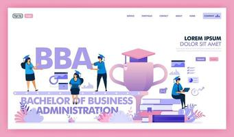 BBA or bachelor of business administration is a university program for business and economics, people learn to get a degree master of business administration or MBA. Flat illustration vector design.