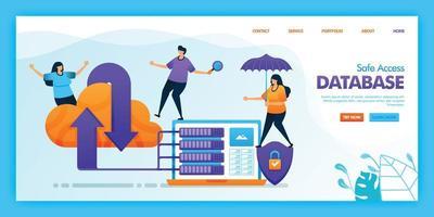 Diseño de vector de página de destino de base de datos de acceso seguro. fácil de editar y personalizar. concepto de diseño plano moderno de página web, sitio web, página de inicio, interfaz de usuario de aplicaciones móviles. personaje de dibujos animados ilustración estilo plano.