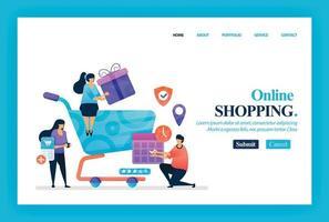 Diseño vectorial de página de destino de compras en línea y comercio electrónico. fácil de editar y personalizar. concepto de diseño moderno de página web, sitio web, página de inicio, aplicaciones móviles. personaje de dibujos animados ilustración estilo plano.