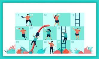 Vector design of Snakes and ladder in collaboration and teamwork. challenges in business. Player contributions teamwork to complete obstacles in snake and ladder game. Management in quiz and game