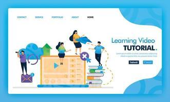aprendizaje concepto de vector azul de página de destino de video tutorial con icono y personaje de dibujos animados planos. El diseño de la página de inicio se puede utilizar para la página de destino, la web, la interfaz de usuario de aplicaciones móviles, póster, folleto, marketing, promoción.