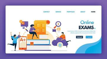 People take online exam concept design for landing pages. flat cartoon character take exam and get A plus results with a internet or cloud storage. can use for homepage, website, web, mobile apps, poster