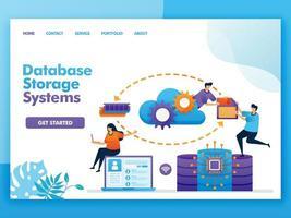 Diseño de vector de página de destino del sistema de almacenamiento de base de datos. fácil de editar y personalizar. concepto de diseño plano moderno de página web, sitio web, página de inicio, interfaz de usuario de aplicaciones móviles. personaje de dibujos animados ilustración estilo plano.