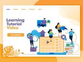 Diseño de vector de página de destino de video tutorial de aprendizaje. fácil de editar y personalizar. concepto de diseño plano moderno de página web, sitio web, página de inicio, interfaz de usuario de aplicaciones móviles. personaje de dibujos animados ilustración estilo plano.