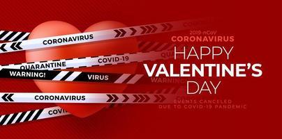 Red valentine love heart and covid biohazard danger