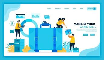 managing and tidy up work briefcase, we hiring employees and job seeker, fresh graduates looking for vacancies, people help other in work and standing on shelf. Flat illustration vector design.