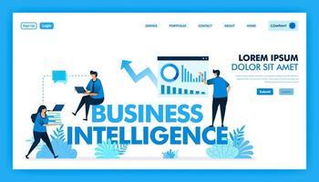 bi o business intelligence para facilitar a las empresas, los negocios y la industria tecnológica 4.0 con acceso a análisis de datos, planificador de estrategia, iot, inteligencia artificial. diseño de vector de ilustración plana.