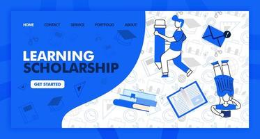 Landing page for learning and scholarship in line style and cartoon flat illustration. Girl read and holding pencil with stationary background pattern. Can for Website, UI UX, Web, Mobile App, Poster