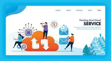 diseño de vector de página de destino de hosting y nube. fácil de editar y personalizar. concepto de diseño plano moderno de página web, sitio web, página de inicio, interfaz de usuario de aplicaciones móviles. personaje de dibujos animados ilustración estilo plano.