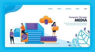 diseño de vector de página de destino de medios de almacenamiento informático. fácil de editar y personalizar. concepto de diseño plano moderno de página web, sitio web, página de inicio, interfaz de usuario de aplicaciones móviles. personaje de dibujos animados ilustración estilo plano.